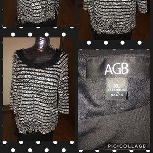 AGB Women's Zebra Ruffled Blouse Size XLARGE